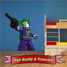 Lego joker batman wall art #printed vinyl sticker #decal childrens #bedroom boys,  View more on the LINK: 	http://www.zeppy.io/product/gb/2/161794258536/