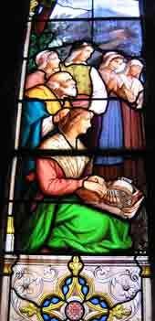 Une dentellière  (vitrail de Saint-François-Régis, dans la collégiale de Saint-Bonnet-le-Château)