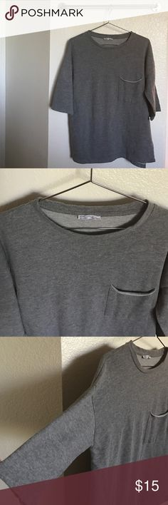 Zara Sweater Zara Trafaluc gray sweater with 3/4 sleeves |Size S (oversized fit) | No stains | Smoke and pet free home. Zara Sweaters Crew & Scoop Necks