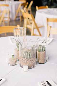 A trio of clear cylinder vases with a varied green succulents and cacti, planted in sand inside; surrounded by gold mercury glass votives