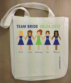 Team Bride Dolls - Custom Cotton Canvas Small Gift Tote Bag - FREE SHIPPING. $12.95, via Etsy.