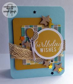 Card by Sarah Gough for SFYTT June 2015. Reverse Confetti stamp sets: Monkey Business and Round About Additions. Confetti Cuts: Monkey Business, Documented, Oh My Stars, Shakers 'n Frames and Circles 'n Scallops.   Masculine Birthday card. Birthday card.