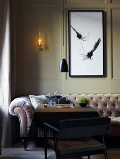Matsalen restaurant at the Grand Hotel Stockholm, Sweden. Interior design by Ilse Crawford.