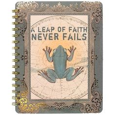 "Spiral Decorative Journal 'Leap of Faith' 7"" x 9"" hardcover, spiral-bound notebooks with gold foil embellishments and 106 fully illustrated, full colour pages. Minimum of 4 per style #966648 $19.99 www.lambertpaint.com"