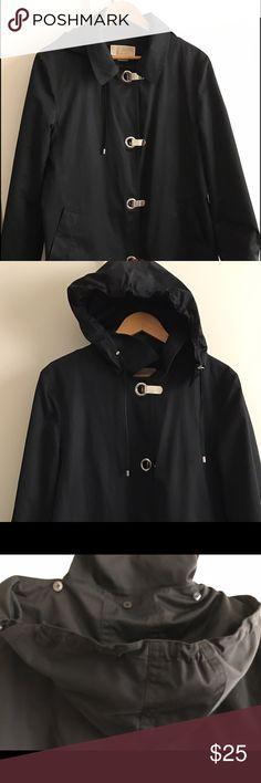 Michael Kors black rain jacket - detach hood! polyester/cotton; 2 pocket; detachable w/ buttons hood; unique clasps to secure coat in front! Warm cotton interior MICHAEL Michael Kors Jackets & Coats Trench Coats
