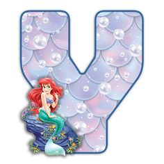 Alphabet, Letter V, Ariel The Little Mermaid, Disney Scrapbook, Halloween, Party, Mermaid, Princesses, Letters