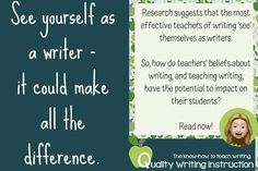 Learn more about how teachers have the potential to influence their students' beliefs about writing and how this might affect their motivation to write.  #teachingwriting #writingteachers #Australianteachers Teaching Writing, See You, How To Know, Writer, Students, Motivation, Feelings, Learning, Blog