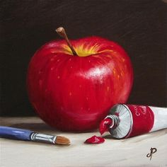 """Painting my Apple"" - Original Fine Art for Sale - © Jane Palmer"
