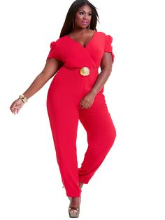 Images of Red Jumpsuit Plus Size - Reikian