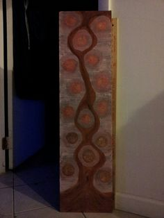 """""""Stream Link"""" by Charles Peter Watson acrylic paint & blush on wood 9.12"""" X 37.25"""" $70"""