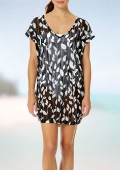 Anne Cole Signature BlackWhite Vines V-Neck Tunic Swim Cover Up