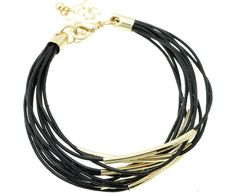 Black Leather and Gold Tube Multi Strand Bracelet – JaeBee Jewelry