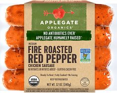 Sweet and fiery - this dynamic duo is a perfect fusion of roasted red and jalapeno peppers. Chicken Apple Sausage, Beer Can Chicken, Turkey Sausage, Chicken Stuffed Peppers, Stuffed Jalapeno Peppers, Organic Chicken, Roasted Red Peppers, Clean Recipes, Dinner