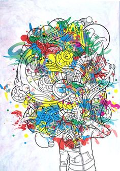 Head Explosion is another piece whose primary shapes are simply black lines on a white background. This piece, however, is brought to life using cleaner and smoother colored shapes rather than the strong textured images that were using in Line Emotions. A subtle texture in the background is also used, bringing out the best of the colors used in the main illustration.