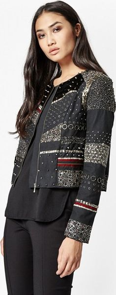 Dark Angel Embellished Jacket Black. A medley of embellishment takes this slightly cropped Dark Angel Embellished Jacket from simple to stand out. Rebel against all style rules and live by the motto that more is better. Amp up your after dark ensembles or daytime looks with this no nonsense cover up.#FrenchConnection #Black #Embelished #Jackets #Women#aw16 #fall16 #fashion #cozy #boho #chic #lifestyle #style #myobsession