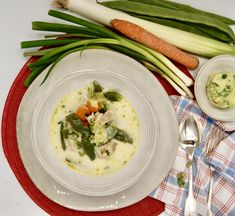 Risotto, Menu, Chicken, Ethnic Recipes, Food, Beans Recipes, Cream Soups, Onion, Carrot