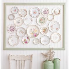 Create an elegant wall display with porcelain dishes, like Johanna Love inside Somerset Home. Dish Display, China Display, Plate Display, Tea Cup Display, Vintage Plates, Vintage China, Vintage Decor, Vintage Pyrex, Plate Wall Decor