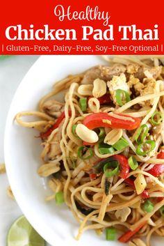 Easy Thai Recipes, Thai Chicken Recipes, Asian Noodle Recipes, Healthy Asian Recipes, Healthy Gluten Free Recipes, Foods With Gluten, Crockpot Recipes, Turkey Recipes, Yummy Recipes