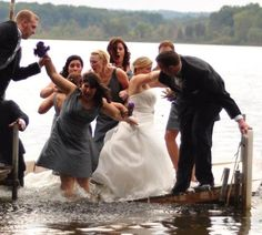 """Why would you ever even think a dock would sink? But it does. *Don't get married at the end of a dock!"""" Sinking happens. Wedding Party Photo As Dock Sinks #PrettyInPictures"""