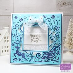 Create-a-Card metal die - Christmas Eve (UK version), Nordic Christmas Embossing Folder - Frosty Morning, Nordic Christmas Stamp Set - Christmas Cheer, The Ultimate Tool (card maker and bow maker)