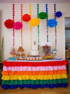 Colorful Rainbow Ruffled Tablecloth, perfect for your rainbow party dessert or gift table. Rainbow Parties, Rainbow Birthday Party, Rainbow Theme, 4th Birthday Parties, Kids Rainbow, Mexican Birthday, Mexican Party, Party Fiesta, Fete Halloween