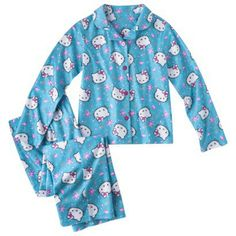 MARIE----Hello Kitty Girls' Button Down Shirt Pajama Set | Kids ...