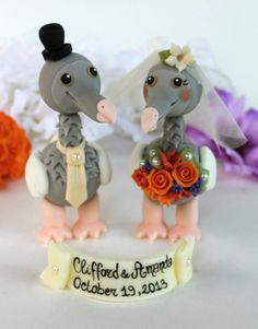 Wedding dodo cake topper love birds with banner by PerlillaPets