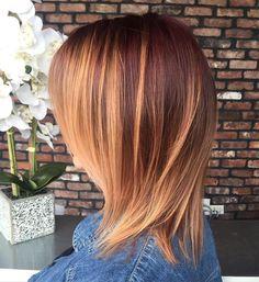 Mahogany Hair With Caramel Highlights Medium Layered Haircuts, Medium Hair Cuts, Medium Hair Styles, Short Hair Styles, Haircut Medium, Thin Hair Haircuts, Long Bob Haircuts, Long Bob Hairstyles, Straight Haircuts