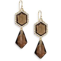 "NWT - $215 Alexis Bittar Citrine Dazzling Drop ""Citrine Dazzling"" drop earrings surrounded by gold and crystals and smokey citrine semi-precious stones. Hexagonal cut top drop stones and bottom drop are diamond shaped tear drops. Brand signature crystal sprinkling in various sizes and densities around the top stones. Measures 2"" in full length and approx 2/3"" in widest width.  These go with everything - any color clothing or hair ur makeup. Can easily be dressed up or down. Sold out most…"