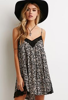 Lace-Trimmed Paisley Trapeze Dress | FOREVER21 - 2000079235