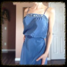 Beautiful Embellished Dress 100% silk. Periwinkle in color, sash belt. Worn once for a wedding. Very flattering silhouette, has adjustable straps. BCBGMaxAzria Dresses Midi