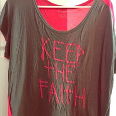 "Cute ""Keep The Faith"" top Keep The Faith...Grey in front, dark pink on back, cute, comfortable, casual top, good condition Tangerine Tops Tees - Short Sleeve"