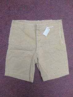 """Vintage 1940s 1950s cotton twill tan brown khaki British military style drill shorts high waist button fly 33"""" by TheDustbowlVintage on Etsy https://www.etsy.com/listing/236118410/vintage-1940s-1950s-cotton-twill-tan"""