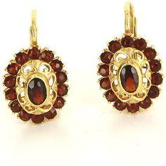 Vintage 18 Karat Yellow Gold Garnet Earrings Fine Estate Jewelry Pre-Owned Used $395