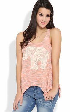 Deb Shops Racerback #Sharkbite Tank Top with #Crochet Lace Elephant $19.00