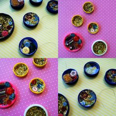 Make Christmas ornaments with bottle tops, glue, beads and buttons