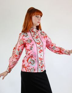 SALE - Saks Fifth Avenue 1980s Pink Cream Red Floral Print Shirt Blouse. Summer. Vacation. Cocktail Party. Fall by gogovintage on Etsy