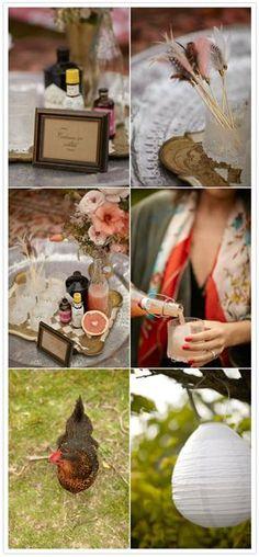 Some feathers, pink beverages & paper lanterns #designsponge #dssummerparty