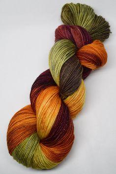 hand dyed yarn, hand painted yarn, handpainted yarn, superwash merino yarn, sock yarn, kettle dyed yarn, fingering, autumn gold stellina