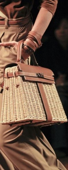 Hermes Leather and Straw Kelly Bag