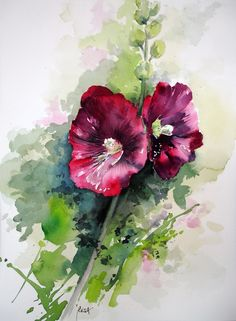 Rèsa - Rose-tremiere #watercolor jd