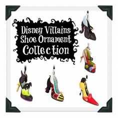 Disney Runway Shoe Collection? Yes, Please!  I want them all!! Villains' and Princess' shoe ornament collection