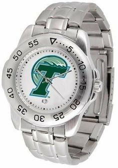 Tulane Sport Men's Steel Band Watch by SunTime. $54.95. This handsome, eye-catching watch comes with a stainless steel link bracelet. A date calendar function plus a rotating bezel/timer circles the scratch resistant crystal. Sport the bold, colorful, high quality logo with pride.