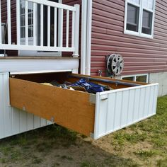 Shop Pylex Deck Storage Drawer Hardware Kit at Lowe's Canada. Find our selection of deck hardware at the lowest price guaranteed with price match. Concrete Patios, Home Depot, Under Deck Storage, Backyard Storage, Outdoor Storage, Deck Skirting, Deck Railings, Railing Ideas, Pergola Ideas