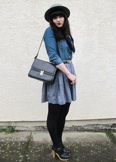 Denim shirt, skirt. Hat, bag. Colors.