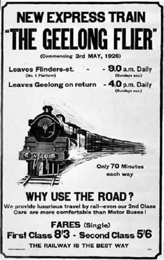 """""""Geelong Flier"""" flyer from the Posters Australia, Terra Australis, Australian Vintage, Melbourne Victoria, Modern History, Historical Pictures, Vintage Travel Posters, Australia Travel, Vintage Advertisements"""