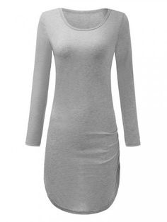 Bodycon Long Sleeve Solid Pencil Sexy Pullover Dress