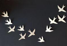 Flock - 11 Porcelain ceramic wall art swallows Bird wall sculpture Modern minimalist wall hanging wall sculpture Set of 11 MADE TO ORDER
