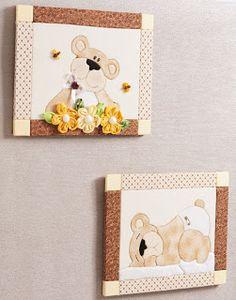 Artes by Rosa Natalia: Enfeite quarto do bebe - Patchwork no isopor - Ursinho passo a passo