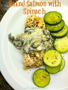 Savory Baked Salmon topped with a Low Fat Creamy Spinach Topping  l  www.lorisculinarycreations.com  l  #salmon #dinneridea
